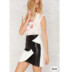 Around the block High waisted vegan leather skirt